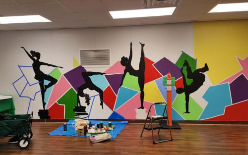 Murals by Pinklomein seen at KIPP Generations Collegiate, Houston - Dance Mural