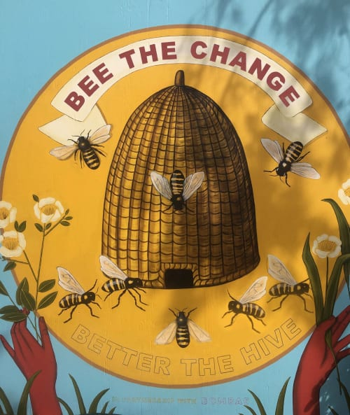 Murals by Natalie Bessell seen at Liberty Station, San Diego - Bee The Change