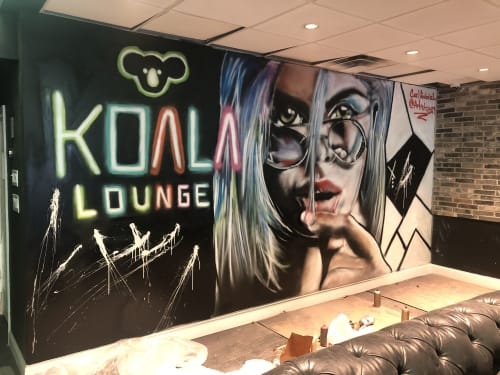 Murals by Carl J Gabriel seen at 91 Main St, Hackensack - Koala Lounge