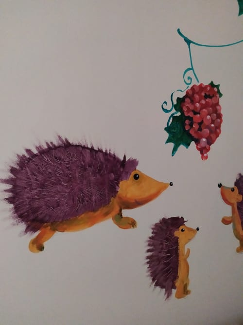 Murals by Tania Christoforatou seen at University General Hospital of Heraklion - Hedgehogs and grapes
