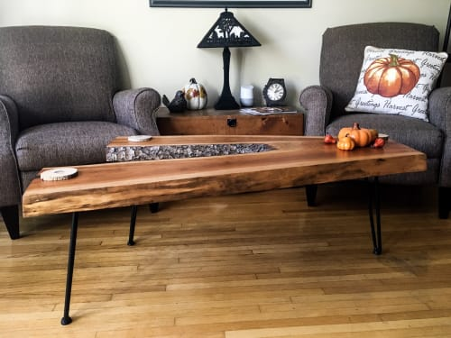Tables by D&D Wood Art seen at Private Residence, Toronto - Live Edge Cherry Y-shaped Coffee Table