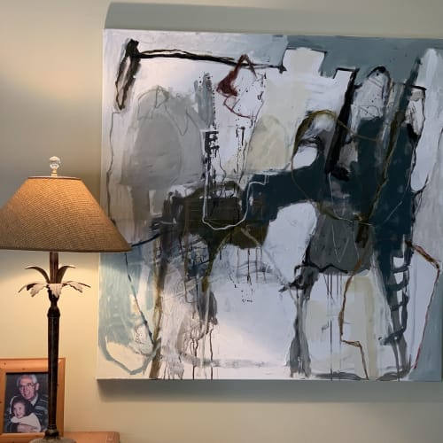Paintings by Libby Mewing seen at Private Residence, Sydney - Have you heard the News? Diptych with mixed media