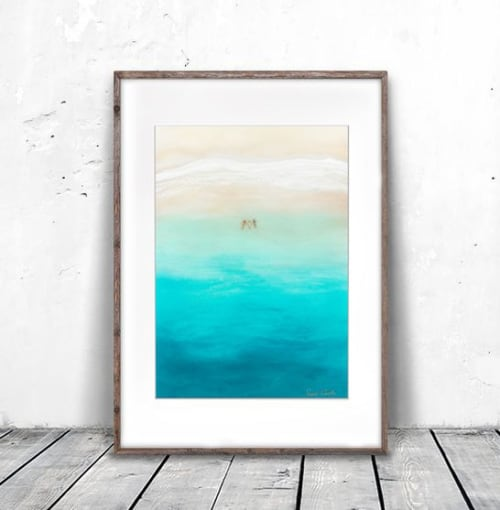 """Paintings by Sarah Caudle seen at Creator's Studio, Honolulu - """"Three for the Sea"""" giclée paper print"""