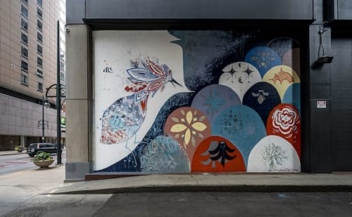 Murals by Max Kauffman seen at 444 17th St, Denver - The nest