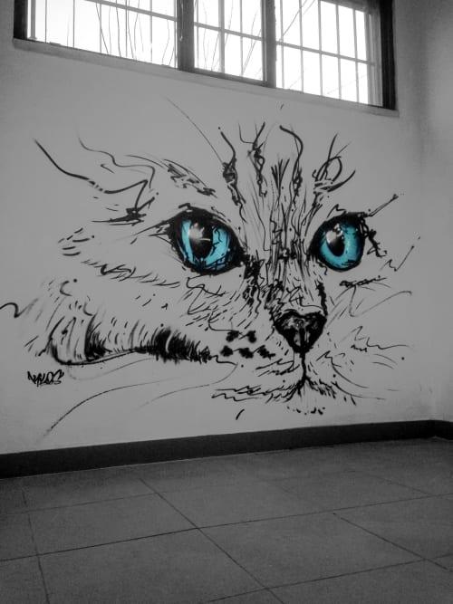 Murals by Kilos seen at Travessa da Granja, Águas Santas - Cat Eyes