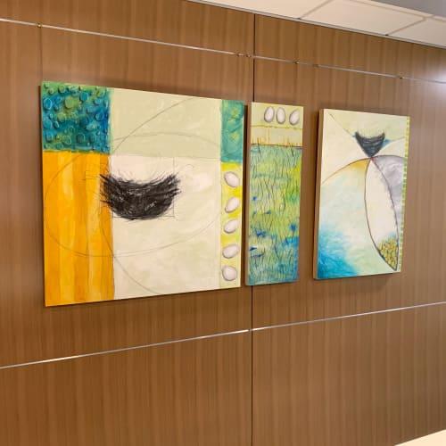 Paintings by Emily Williams-Wheeler seen at Bell Bank, Fargo - Nest Eggs