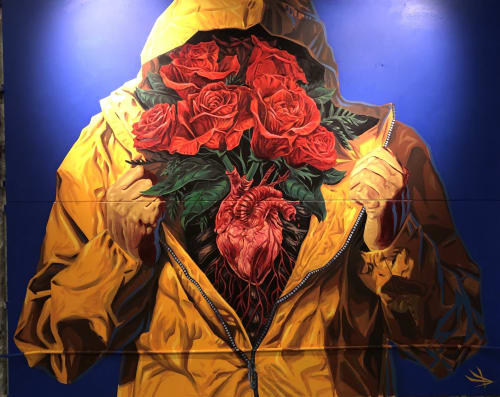 Murals by Mister Toledo seen at Garage Gallery L.A., Los Angeles - MI CORAZON