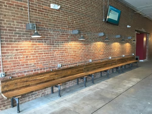 Benches & Ottomans by Rustic River Creations seen at Rumors Deli, Cullman - Reclaimed Barnwood Bench