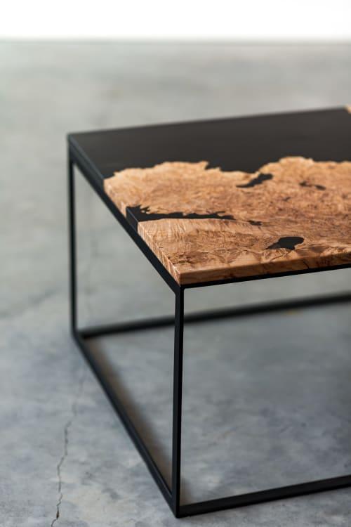 Tables by SAW Live Edge at SAW Live Edge Studio, Kimberley - Maple Burl Live Edge Resin Coffee Table | Steel Base | Handmade | Modern Furniture