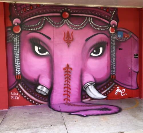 Street Murals by AIDA MIRO seen at 6800 SW 60th St, Miami - GANESH
