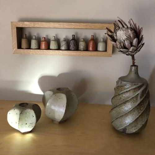 Wall Hangings by David Wright Pottery seen at Private Residence, Leicester - Frame with bottles