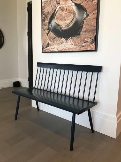 """48"""" Hague Blue Spindle Back Bench in Ash 