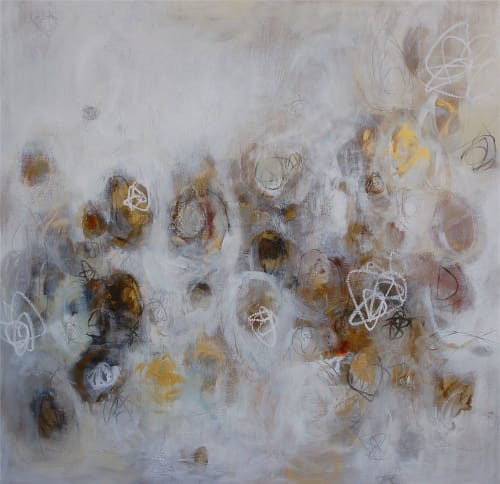 "Paintings by Christina Doelling, Abstract Artist seen at Oyster Point Row, Charleston - ""Pebbles on the Path"" 