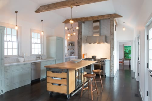 Furniture by Wickham Solid Wood Studio seen at Private Residence, Millbrook, NY, Millbrook - Steel and Oak Kitchen Island