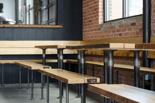 Benches & Ottomans by Bailey Davol / Studio Build seen at Notch Brewery & Tap Room, Salem - Reclaimed Benches