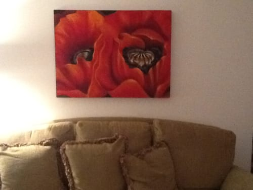 Paintings by Kelly Dillard Art seen at Private Residence - Contemporary Poppies