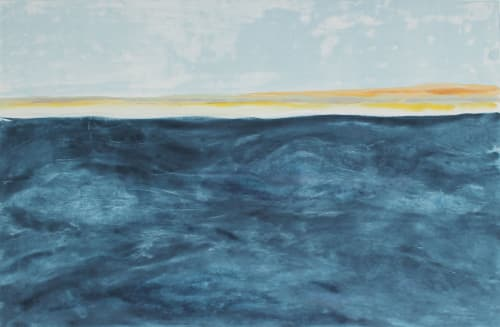 """Paintings by Rob Delamater seen at Serena & Lily Design Shop, San Francisco - """"Looking Back to Limantor Beach I & II"""", 2014"""