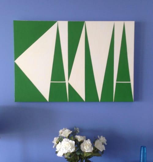 """Paintings by Ron Burkhardt seen at Private Residence, West Palm Beach - LetterScape """"KARMA"""""""