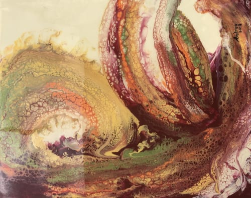 Paintings by Andrea Frank seen at Private Residence, Trinity - Maroon Swirls