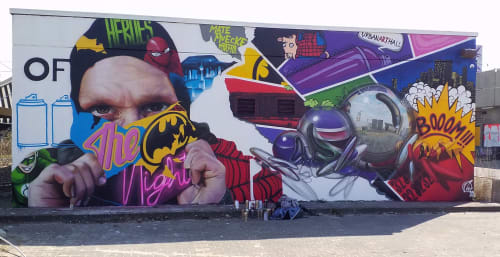 """Street Murals by MATE artist seen at Spandau, Berlin - """" Heroes of the night """""""