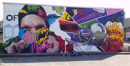 "Macrame Wall Hanging by MATE artist seen at Spandau, Berlin - "" Heroes of the night """