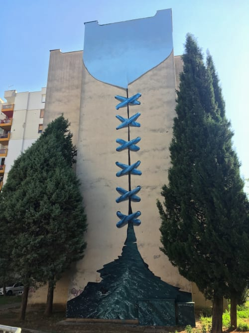Street Murals by Erik Burke seen at Mostar, Mostar - What the River Divides The Sky Combines