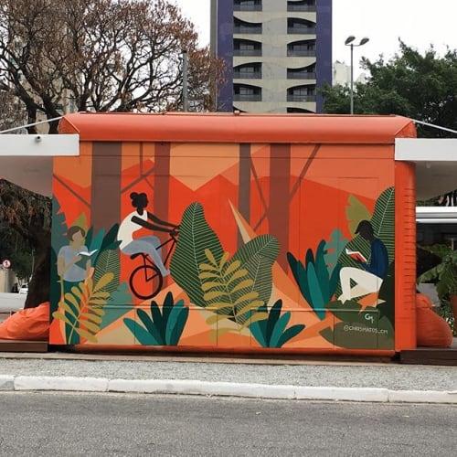 Murals by Chris Matos seen at Praça Luís Carlos Paraná, Itaim Bibi - Faria Lima