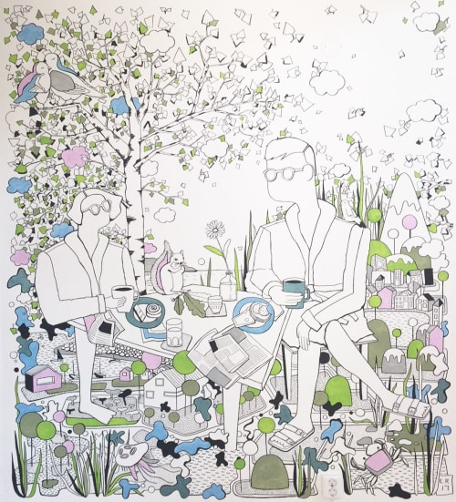 Murals by Emma Rytoft seen at Private Residence, Helsingborg - Coffee in the Garden