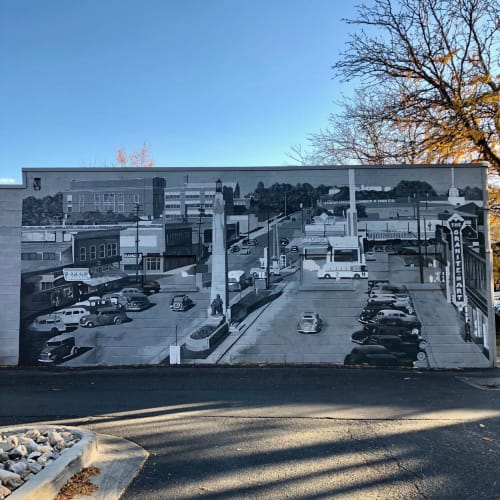 Murals by Josh Scheuerman seen at Market Source Real Estate, Salt Lake City - Sugar House, Utah 1940