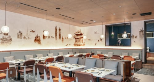 Murals by Skio Ding seen at 山海 Atlas Kitchen, New York - The New Classic of Mountains and Sea