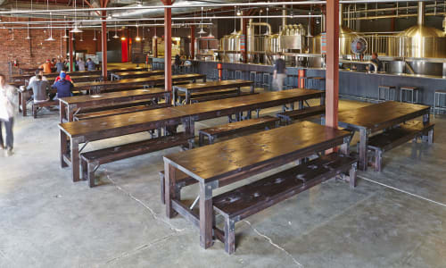 Tables by Goebel & Co. Furniture seen at Urban Chestnut Grove Brewery and Bierhall, St. Louis - Community Tables Benches