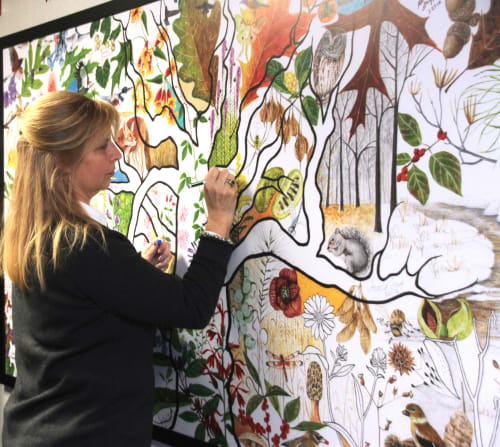 Murals by Trena McNabb seen at Wake Forest Baptist Health - Wake Forest Baptist Medical Center, Winston-Salem - Tree of Life: Honoring life-giving heroes (organ donors)