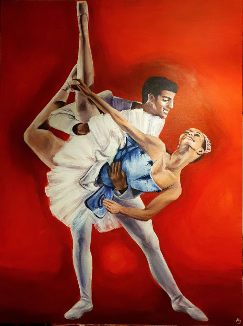 Paintings by Antonia Jameson seen at Tina's Dance Studios, Wigan - 'Pas De Deux in Red'