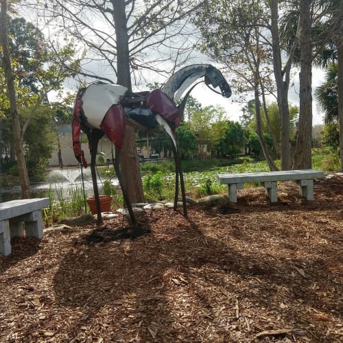 Public Sculptures by Donald Gialanella seen at Florida Botanical Gardens, Largo - Body Parts Horse