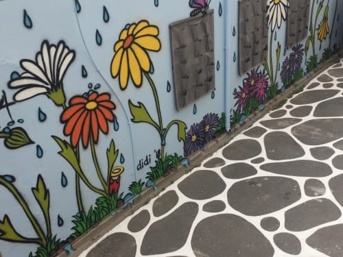 """Murals by Tracy Payne seen at NUDE FOODS, Cape Town - """"It's never too late to bloom"""""""