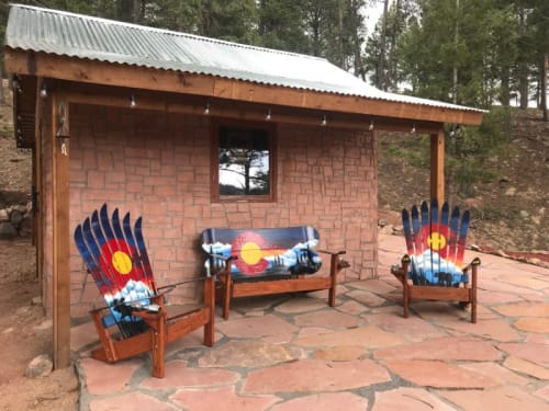 Chairs by Colorado Ski Chairs seen at Private Residence, Woodland Park - Colorado Sunset Mural Adirondack Snowboard Bench and 2 Chairs