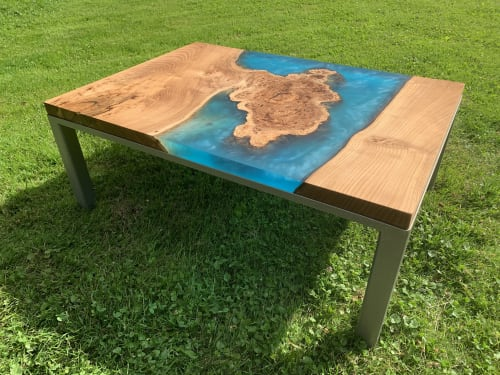 Tables by Barn Born Furniture seen at Pittsburgh, Pennsylvania, Pittsburgh - Red Elm Burl Coffee Table