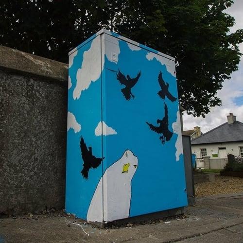 Street Murals by Patrick Dalton seen at Lambeecher & Drogheda Street, Balbriggan - Painted Electricity Box mural
