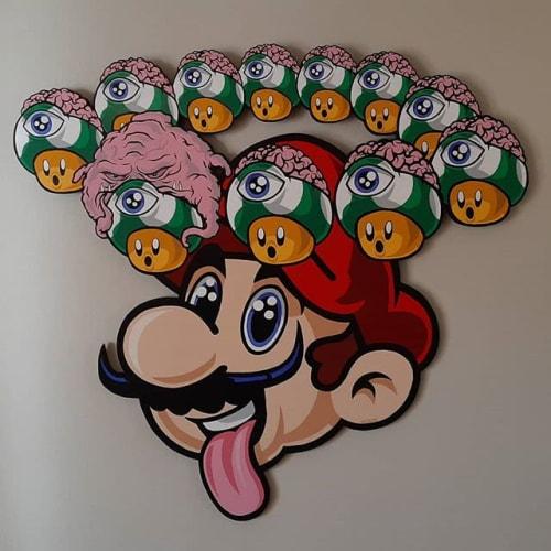 Paintings by JALLEN Art and Design seen at Massachusetts, USA - Pixel Bar, Homer Donut and Mushroom Mario.