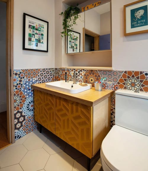 Furniture by Kerf Works seen at Private Residence, Nether Edge - Cool Bathroom Unit