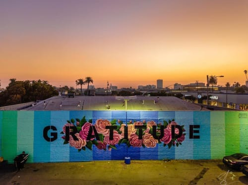 Street Murals by Ruben Rojas seen at 1302 Santa Monica Blvd, Santa Monica - Gratitude