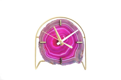 Art & Wall Decor by Mod North + Co seen at Private Residence, Pacific Grove - Pink Agate Slab Desk Clock