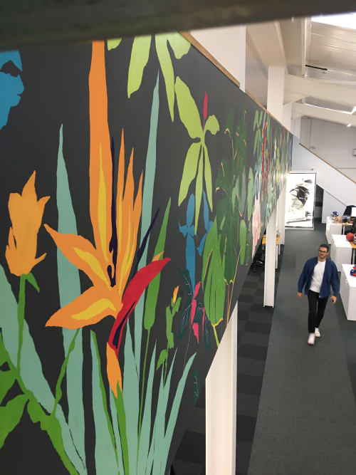 A large tropical inspired mural in a TV studio in London | Murals by Living Wall Murals | Royal Botanic Gardens, Kew in Richmond
