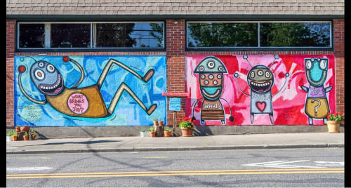 Street Murals by Gary Hirsch (botjoy) seen at Bleeding Hearts Kettlebell Club, Portland - Joy Mural