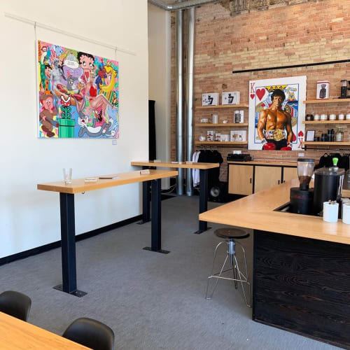 Paintings by Jackson Wrede seen at Madcap Coffee Company, Grand Rapids - Hungry Like the Wolf and King of Heart