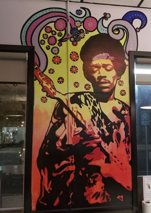 Murals by Albert Gonzales seen at Burger Culture, San Antonio - Hendrix
