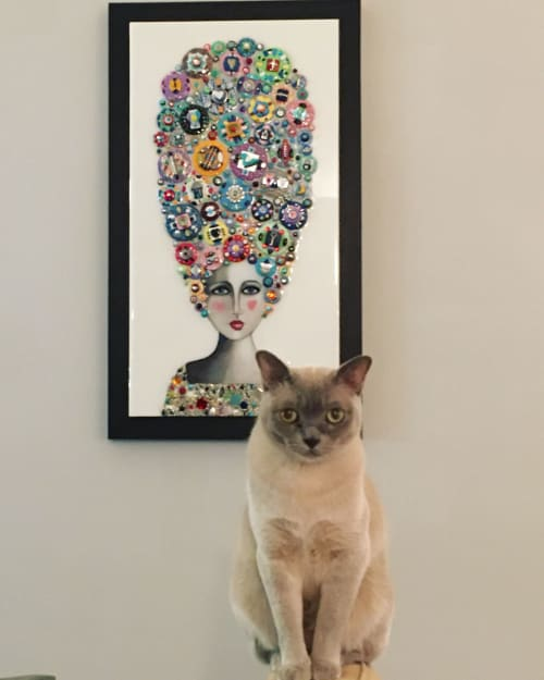 """Art & Wall Decor by Cami Levin seen at Private Residence, New York - """"Rainbow Muse"""" - Marie Antoinette Series"""