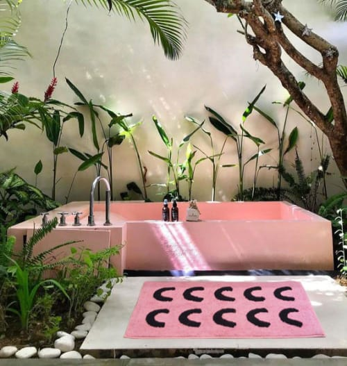 Beds & Accessories by Mosey Me seen at The Luxe Nomad Bali - Pink Curve Bath Mat