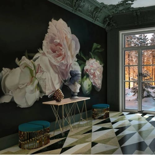 Murals by Thomas Darnell seen at Private Residence, Sainte-Valière - Peonies Pink