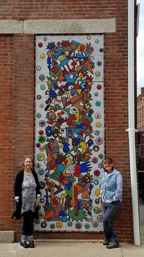 Public Mosaics by Carol Krentzman seen at Court Street, Natick - Smiling Faces